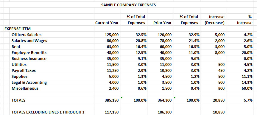 sample company expenses